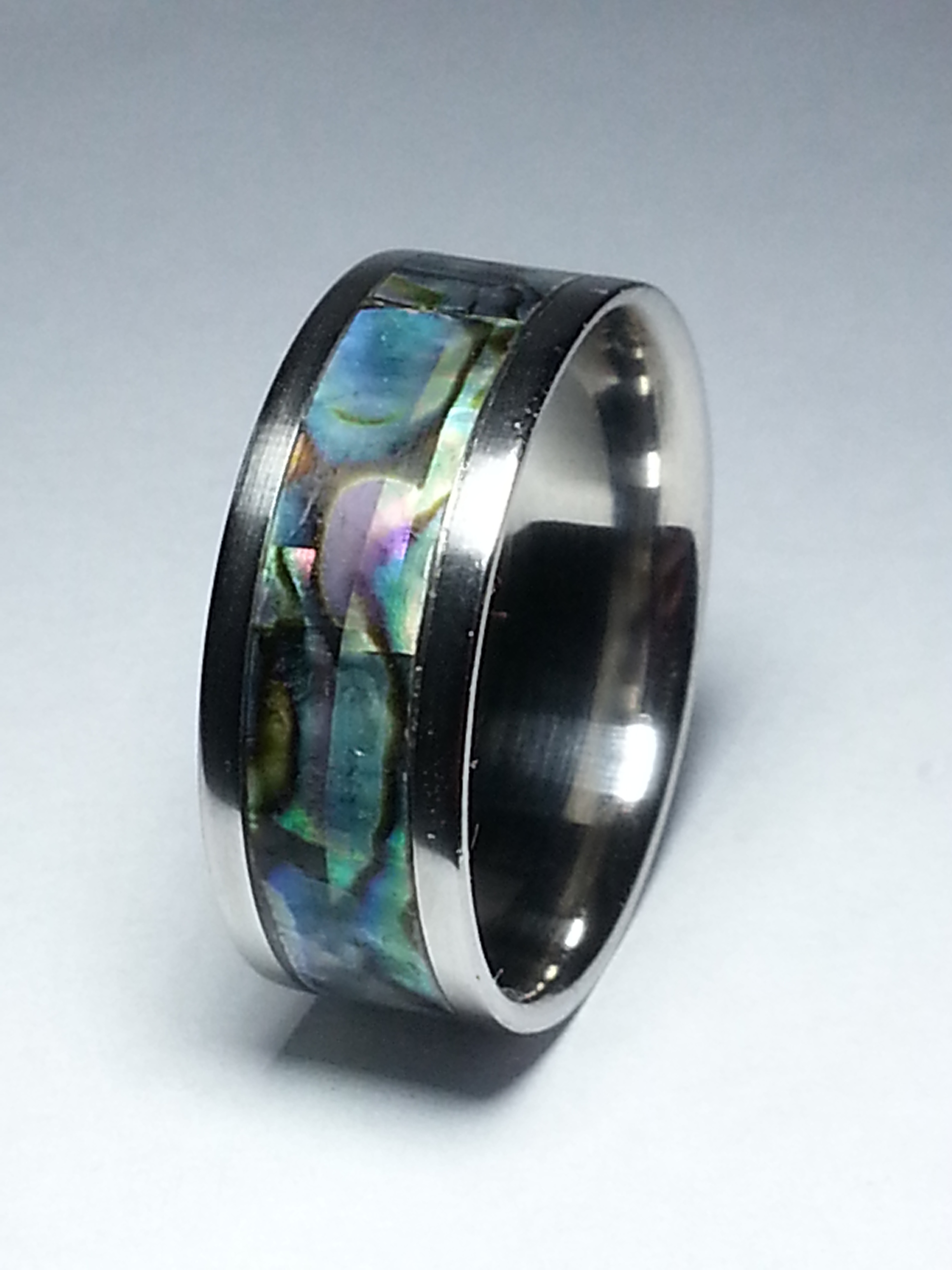 Stainless Steel Ring + Real Abalone shell