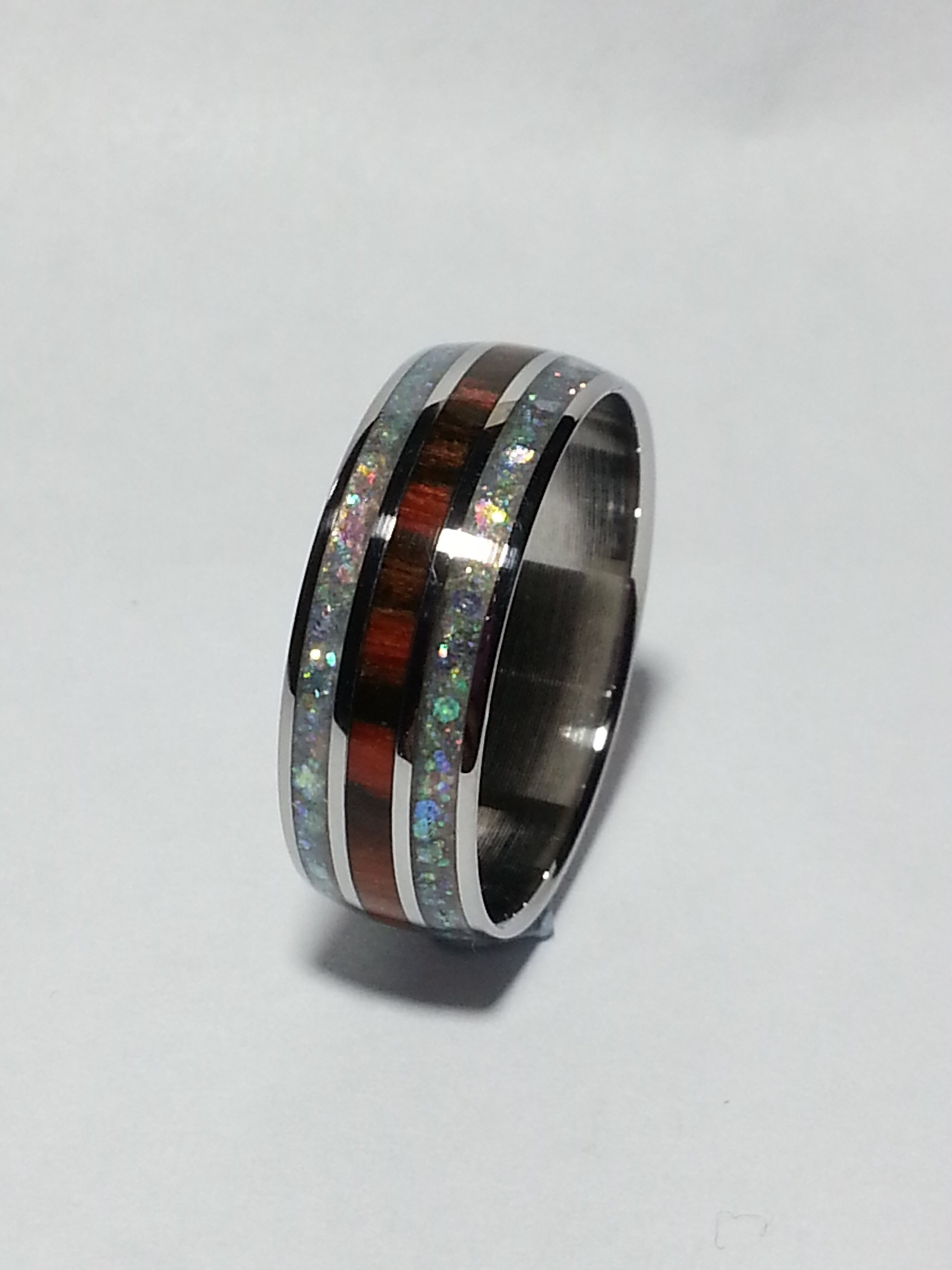 Stainless Steel Ring + Rosewood + Glitter