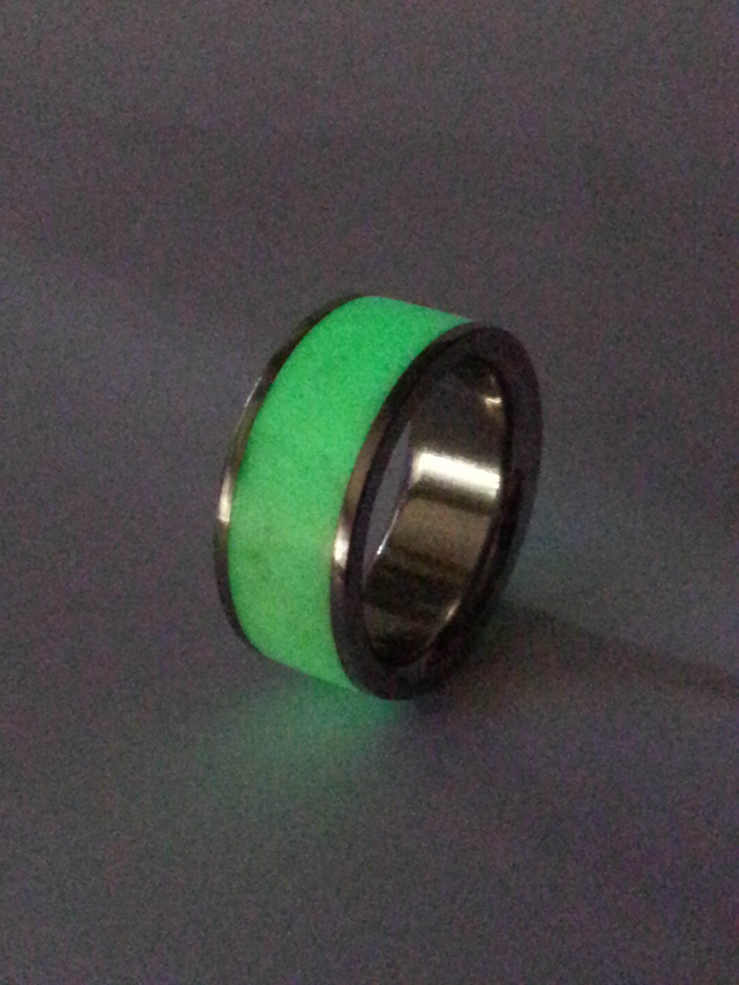 Stainless Steel Ring + Glow in the dark