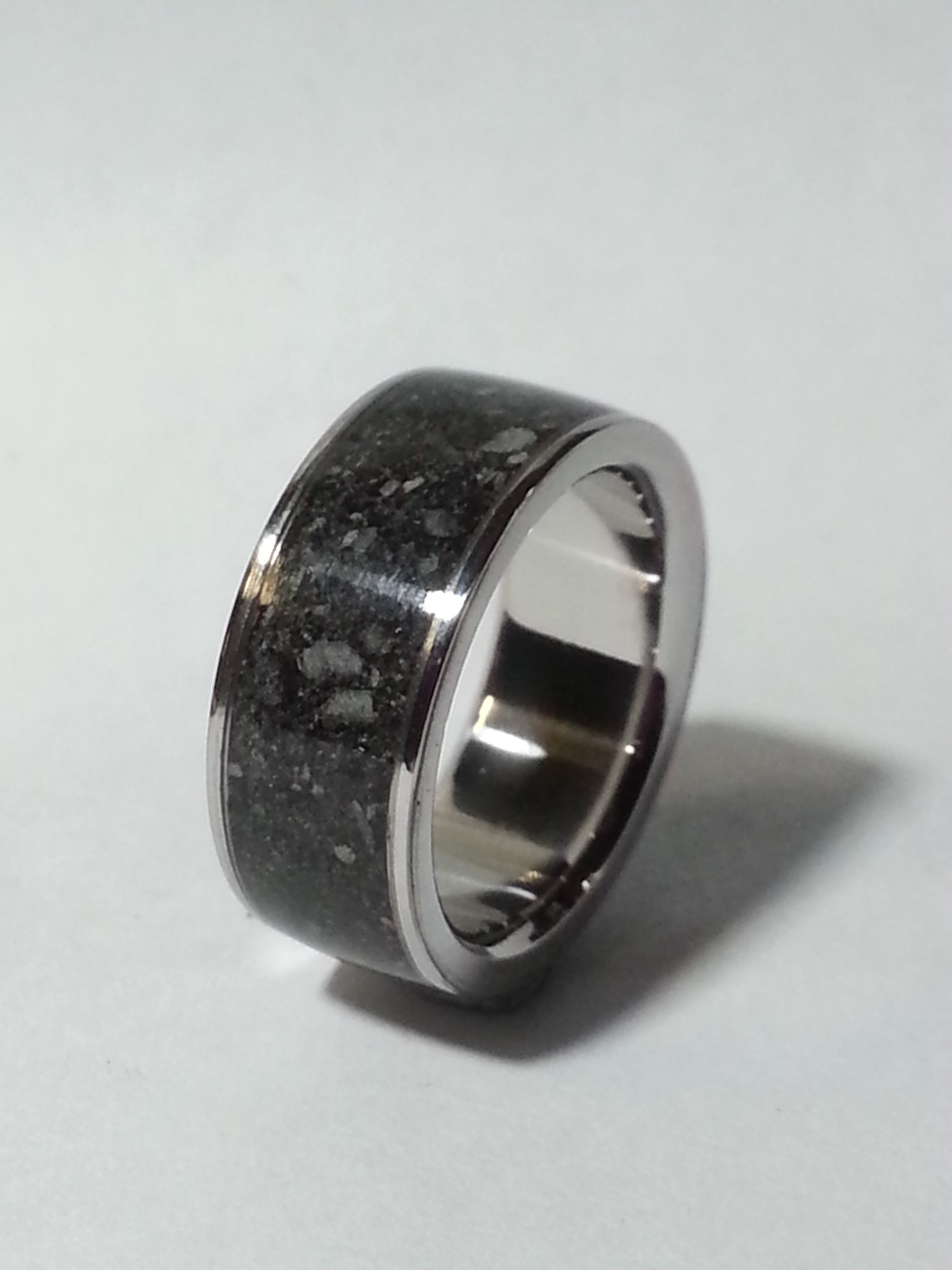 Stainless Steel Ring + Cremation Ashes