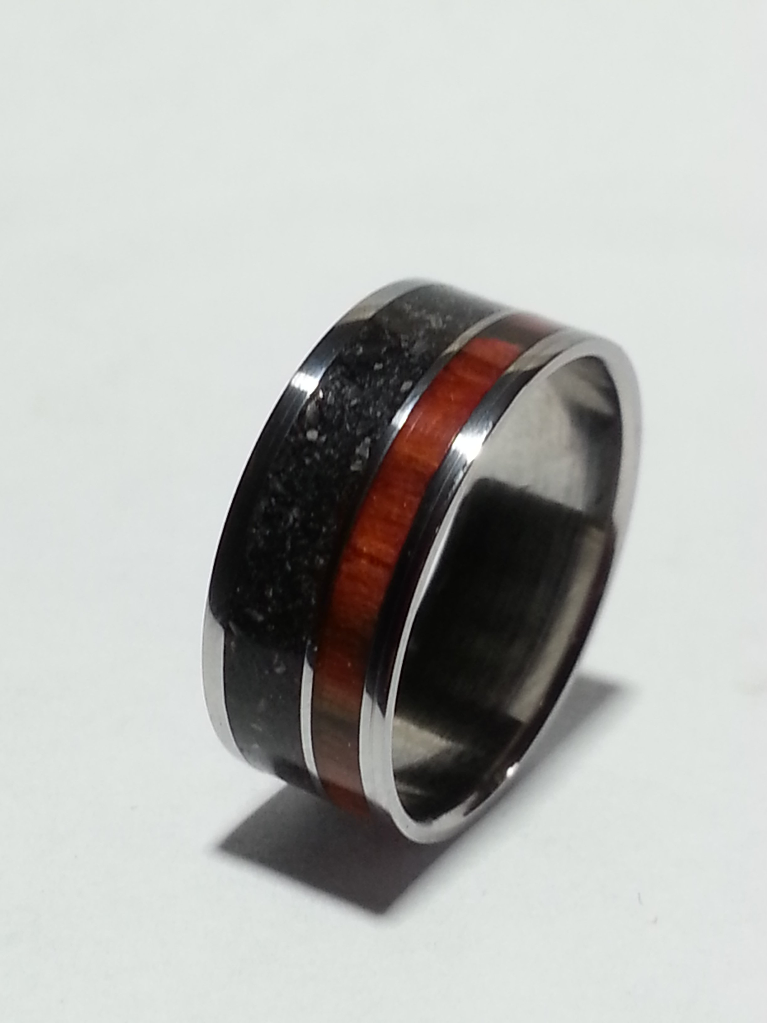 Stainless Steel Ring + Cremation Ashes + Rosewood