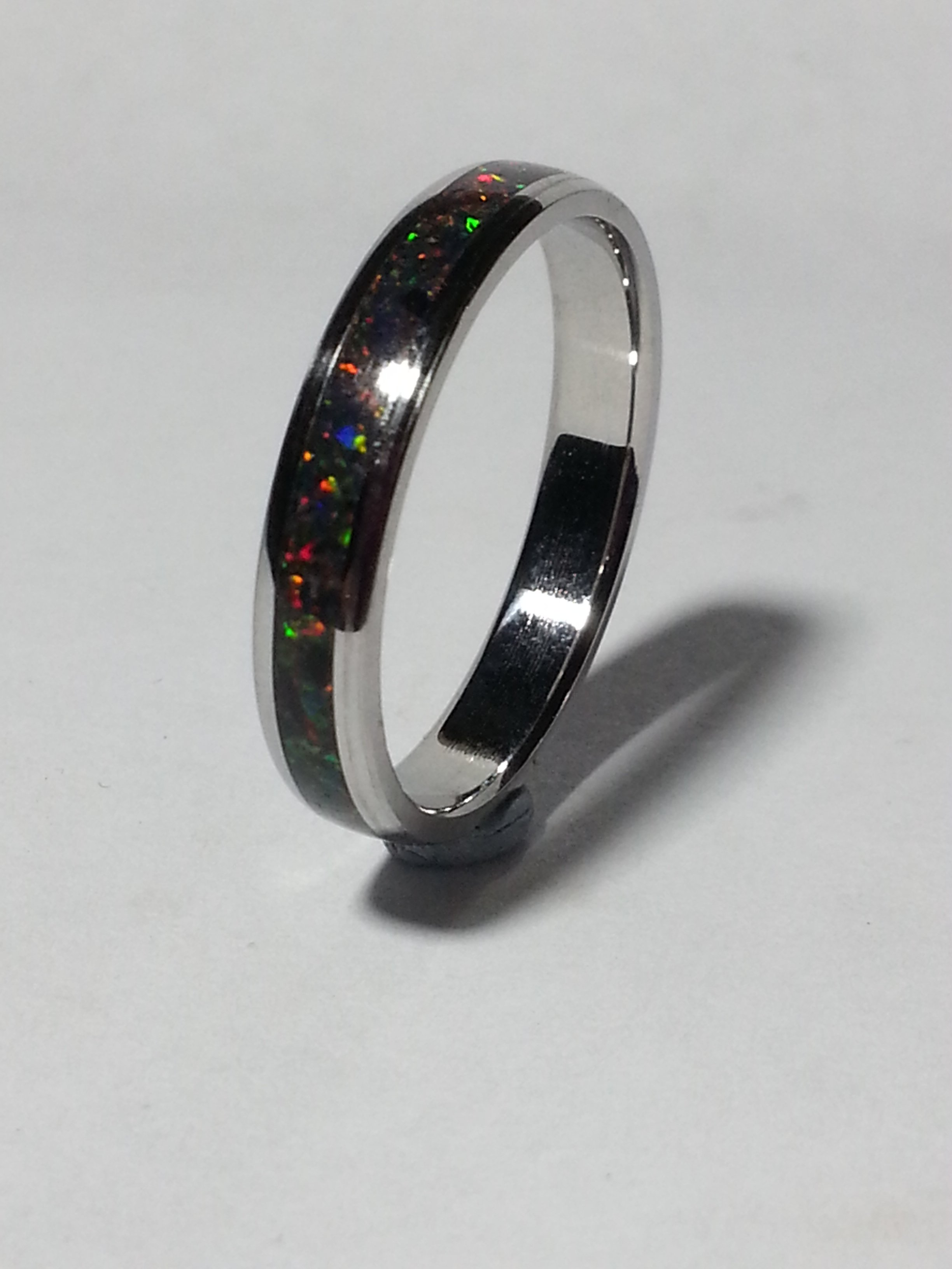 Stainless Steel + Lab Fire opal