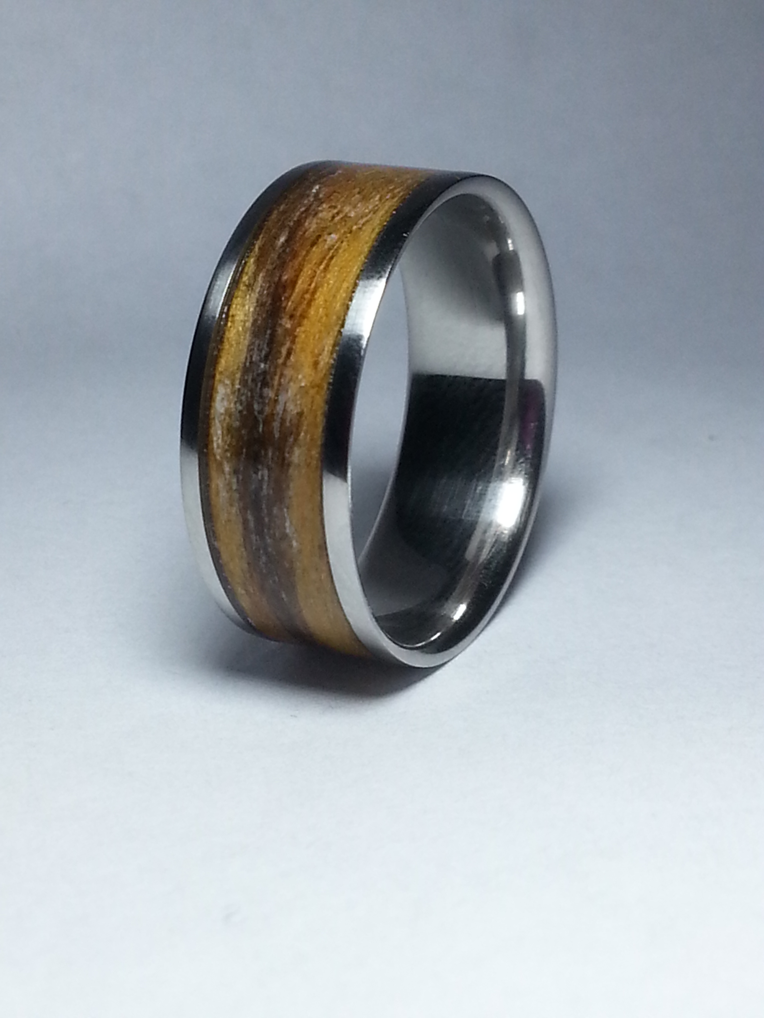 Stainless Steel Ring + Olive wood